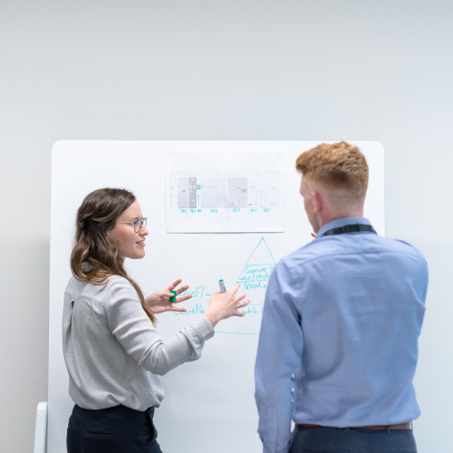People discussing in front of a whiteboard
