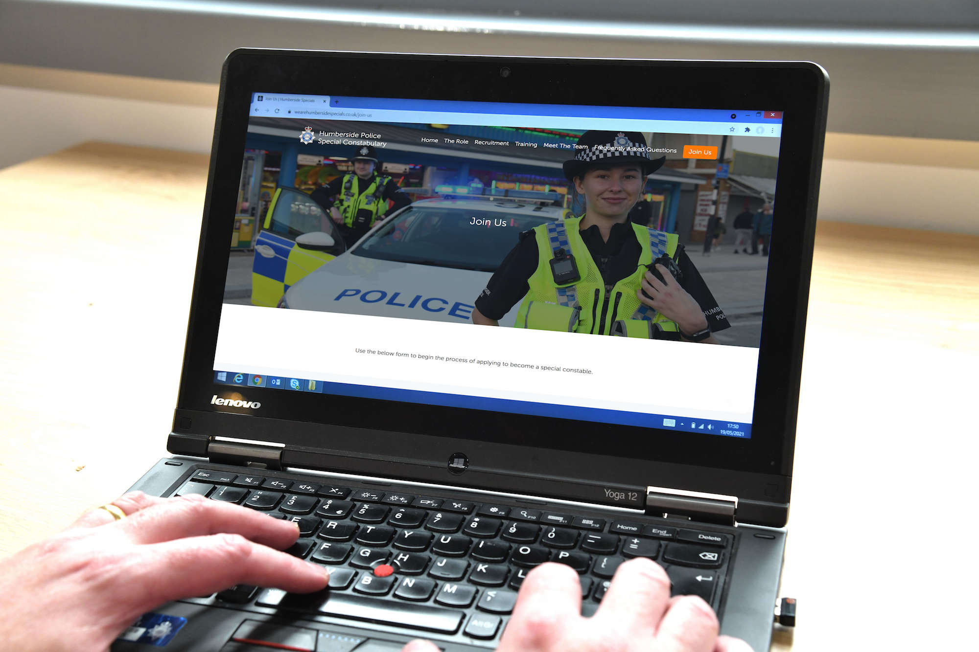 Laptop looking at the Humberside Specials website